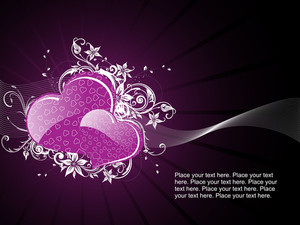 Purple Retro Background With Love