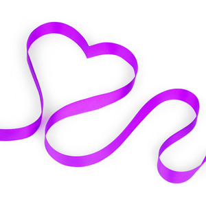 Purple ribbon shaping heart