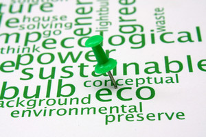 Push Pin On Ecology Word Cloud