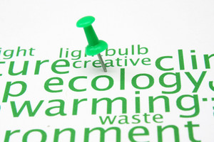 Push Pin On Ecology Word Cloud