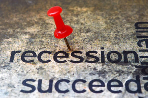 Push Pin On Recession Text