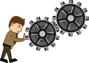 Pushing Gears - Vector Character Cartoon Illustration