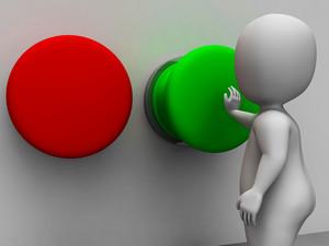 Pushing Green Button Showing Starting