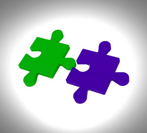 Puzzle Pieces Shows Teamwork Connection Solution