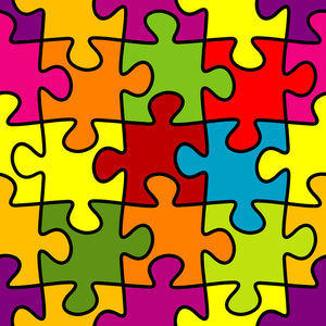 Puzzle. Seamless Vector Background.