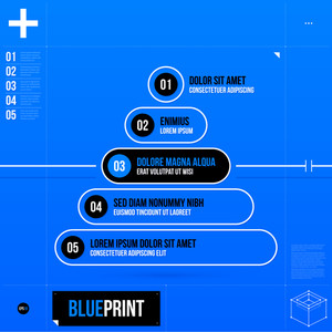 Pyramid Chart Template In Blueprint Style With Five Stages. Eps10.
