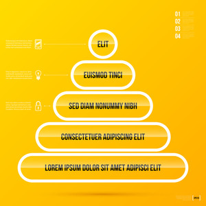 Pyramid Chart Template On Bright Yellow Background In Modern Corporate Style. Eps10