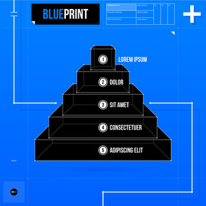 Pyramid Chart With Five Levels In Blueprint Style. Eps10