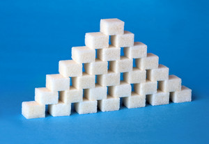 Pyramid formed with sugar