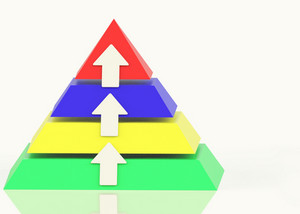 Pyramid With Up Arrows And Copyspace Showing Growth Or Progress