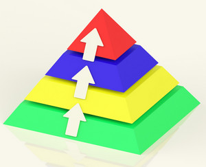 Pyramid With Up Arrows Showing Growth Or Progress