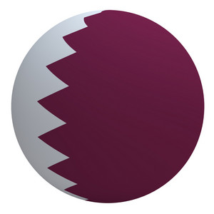 Qatar Flag On The Ball Isolated On White.