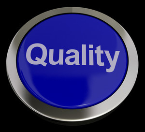 Quality Button Representing Excellent Service Or Products