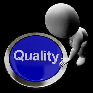 Quality Button Represents Excellent Service Or Products