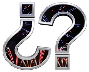 Question Mark From Firework With Chrome Frame Alphabet Set