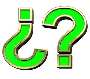Question Mark From Light Green With Gold Frame Alphabet Set