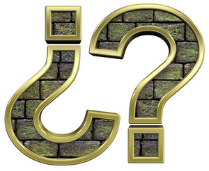 Question Mark From Stone With Gold Frame Alphabet Set