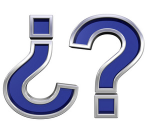 Question Mark Sign From Blue Glass With Chrome Frame Alphabet
