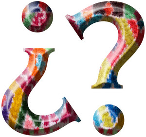 Question Mark Symbol Made With Hand Made Woolen Fabric