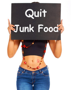 Quit Junk Food Sign Shows Eating Well For Health
