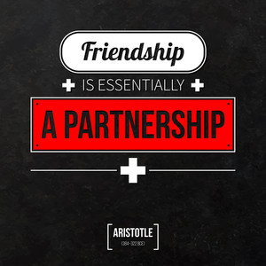 "Quote Typographical Background ""friendship Is Essentially A Partnership"""
