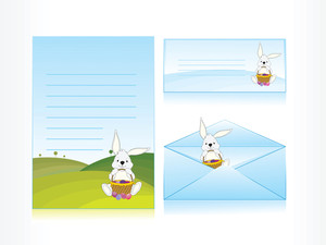 Rabbit In Ground Background Letter And Envelope