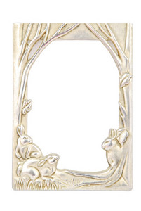 Rabbit Photo-frame On White