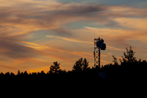 Radar Tower At Sunset