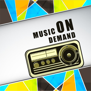 Radio With A Music On Demand Text On Colourful Background
