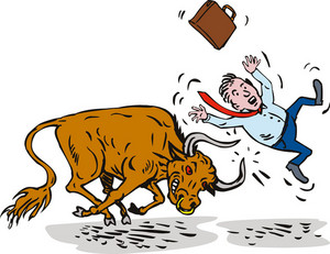 Raging Bull Charging Attacking Businessman