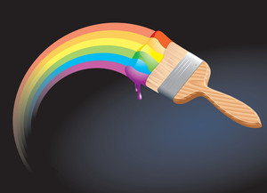 Rainbow Brush. Vector.