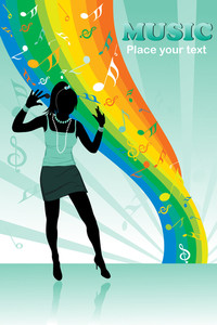 Rainbow Musical Notes Background With Girl Silhouette