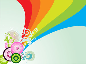 Rainbow Stripes Background With Circle