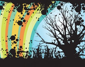 Rainbow Tree Vector Illustration