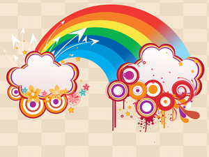 Rainbow With Grungy Artwork Illustration