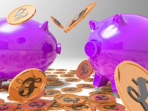 Raining Coins On Piggybanks Shows Richness