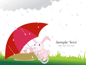 Rainy Background With Elephant