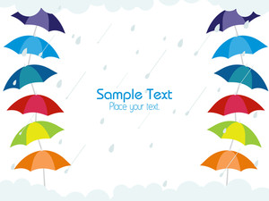 Rainy Background With Umbrella