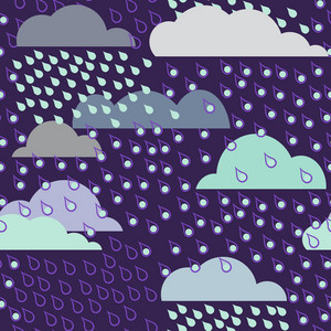 Rainy Seamless Pattern With Clouds