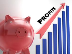 Raising Profits Chart Showing Incomes Growth