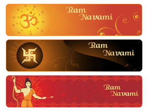 Ramnavami Banner With Landscape Pattern