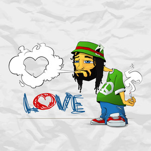 Rasta Character On A Grunge-background. Vector Illustration.eps10
