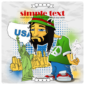 Rasta Character On A Usa-background. Vector Illustration. Eps10