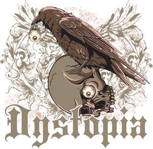 Raven With Skull Vector T-shirt Design