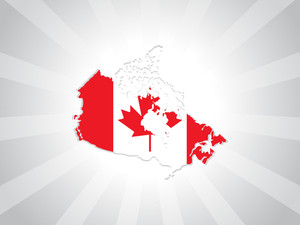 Rays Background With Canada Map