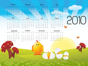 Rays Background With Easter Pattern Calender