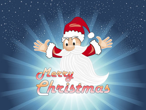 Rays Background With Flying Santa Claus