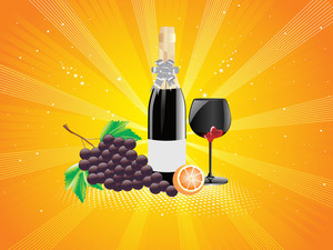 Rays Background With Fruit And Wine Glass