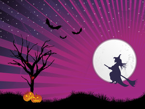 Rays Background With Halloween Witch