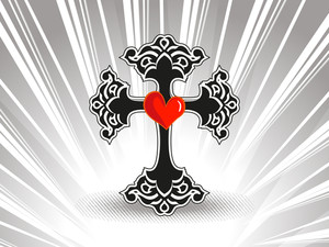 Rays Background With Isolated Black Cross